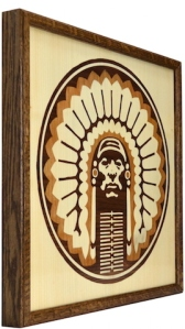 Chief Illiniwek Marquetry Side Angle